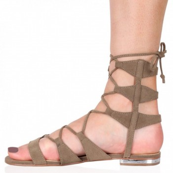 Pantofi Dama Evie Gladiator Flat Sandals Taupe Faux, Shoes UK