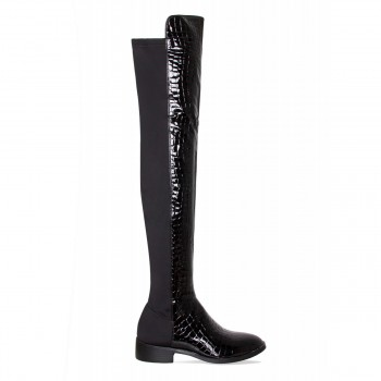 Bridget Black Patent Croc Flat Thigh High Boots