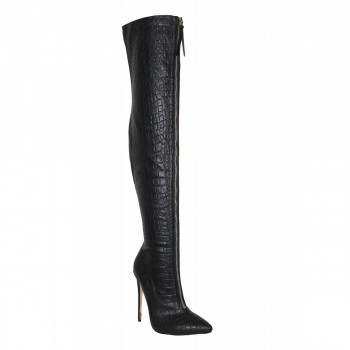 Candice Black Croc Front Zip Thigh High Boots