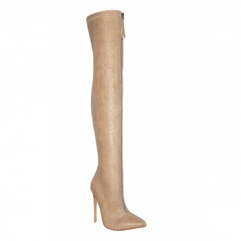Candice Taupe Croc Front Zip Thigh High Boots