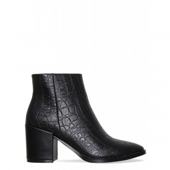 Addison Black Croc Block Heel Ankle Boots
