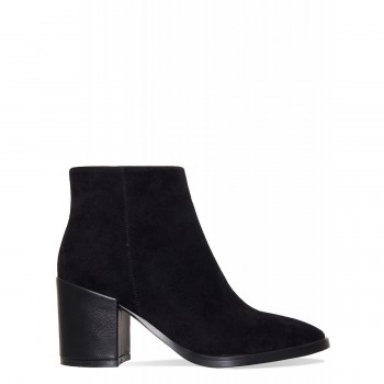 Addison Black Suede Block Heel Ankle Boots