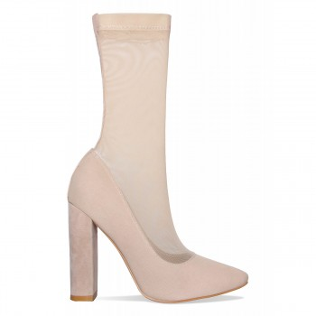 Alexia Nude Suede Mesh Ankle Boots