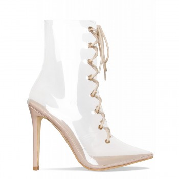 Andrea Nude Clear Lace Up Ankle Boots