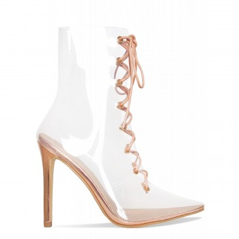 Andrea Rose Gold Clear Lace Up Ankle Boots