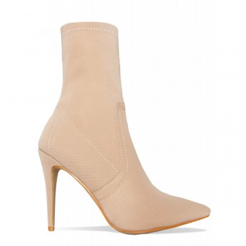 Angie Beige Ribbed Stiletto Ankle Boots