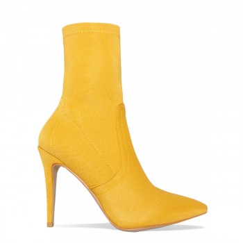 Angie Yellow Ribbed Stiletto Ankle Boots