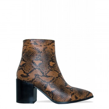 Anya Brown Snake Block Heel Ankle Boots