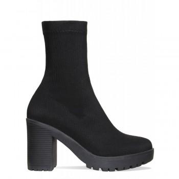 Ava Black Rib Platform Block Heel Ankle Boots