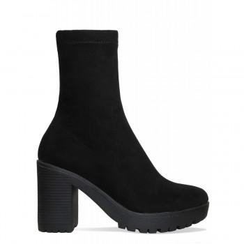 Ava Black Suede Platform Block Heel Ankle Boots