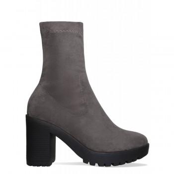 Ava Grey Suede Platform Block Heel Ankle Boots