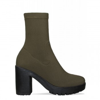 Ava Khaki Rib Platform Block Heel Ankle Boots