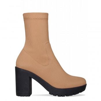 Ava Nude Rib Platform Block Heel Ankle Boots