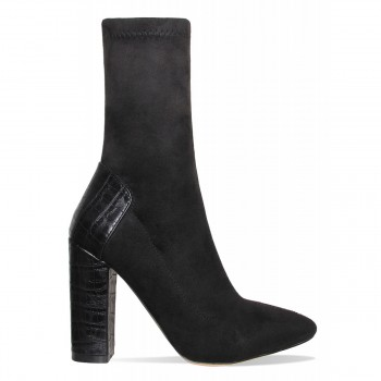 Bailey Black Suede Croc Block Heel Boots