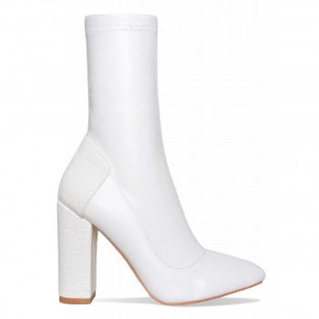 Bailey White Croc Block Heel Boots