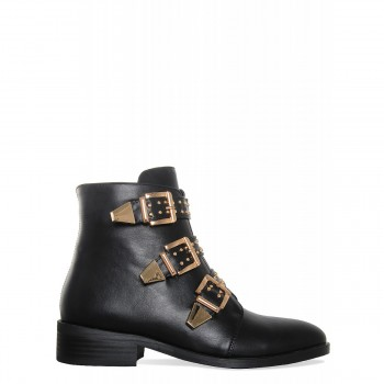 Benny Black Gold Buckle Flat Ankle Boots