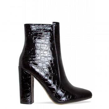 Brenna Black Croc Block Heel Ankle Boots
