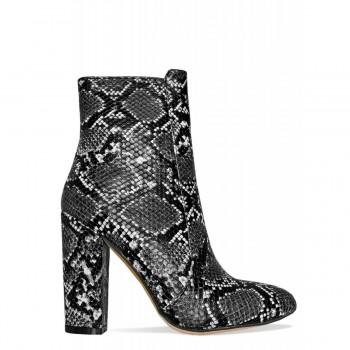 Brenna Grey Snake Block Heel Ankle Boots