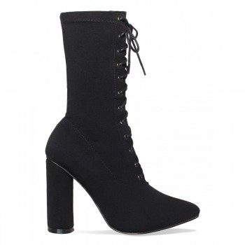 Brianna Black Lycra Lace Up Ankle Boots