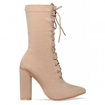 Brianna Nude Lycra Lace Up Ankle Boots