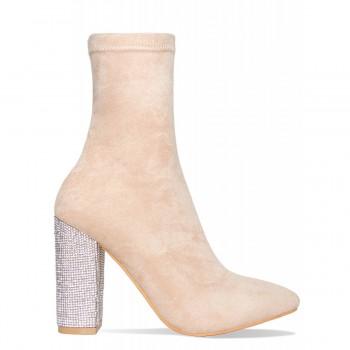 Brogan Nude Silver Diamante Block Heel Ankle Boots