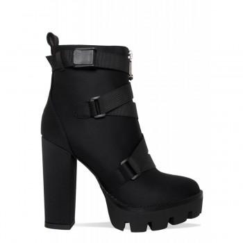 Cairo Black Lycra Buckle Platform Ankle Boots