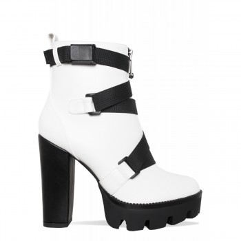 Cairo White Buckle Platform Ankle Boots