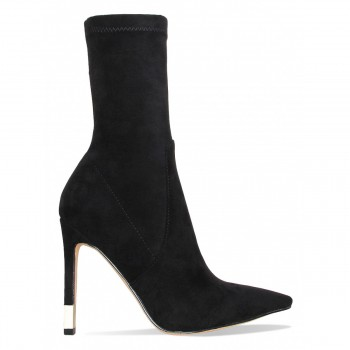 Cali Black Suede Gold Tip Stiletto Ankle Boots