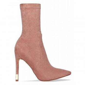 Cali Blush Suede Gold Tip Stiletto Ankle Boots