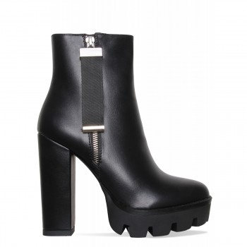 Cardi Black Zip Platform Ankle Boots