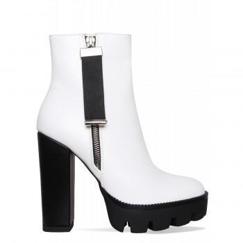 Cardi White Zip Platform Ankle Boots