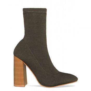Casey Khaki Block Heel Ankle Boots