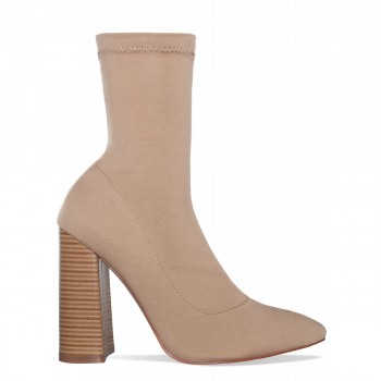 Casey Nude Block Heel Ankle Boots