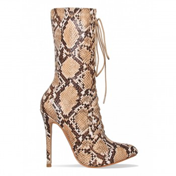 Celia Beige Snake Lace Up Pointed Ankle Boots