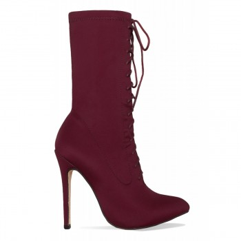 Celia Maroon Lycra Lace Up Pointed Ankle Boots