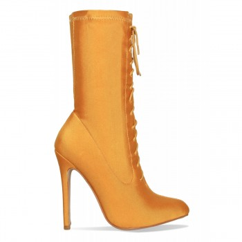 Celia Mustard Lycra Lace Up Pointed Ankle Boots