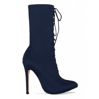 Celia Navy Lycra Lace Up Pointed Ankle Boots