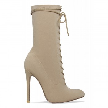 Celia Nude Lycra Lace Up Pointed Ankle Boots