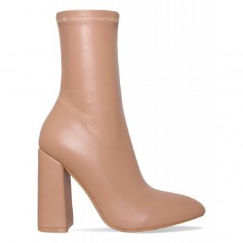 Charlie Coffee Block Heel Ankle Boots
