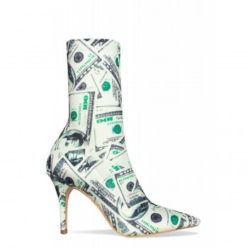 Dinara Dollar Print Stiletto Ankle Boots