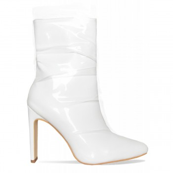 Elisha White Patent Clear Ankle Boots