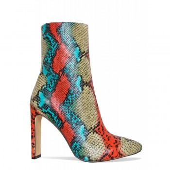 Eliza Multi Snake Slim Block Heel Ankle Boots