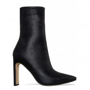 Emery Black Lizard Slim Block Heel Ankle Boots