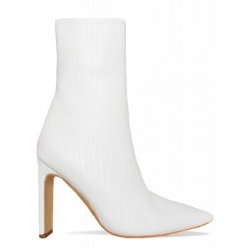 Emery White Lizard Slim Block Heel Ankle Boots