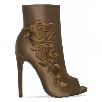 Flo Khaki Satin Floral Peep Toe Ankle Boots