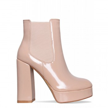 7771447464 Roxanne Nude Crinkle Patent Platform Ankle Boots