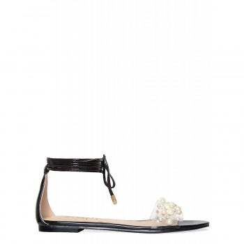 Alanna Black Lace Up Pearl Clear Sandals