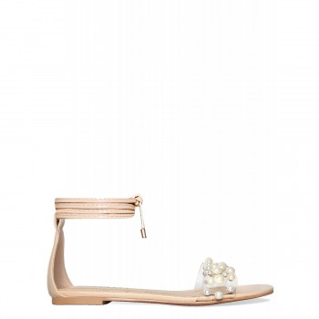 Alanna Nude Lace Up Pearl Clear Sandals