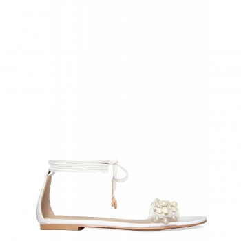 Alanna White Lace Up Pearl Clear Sandals