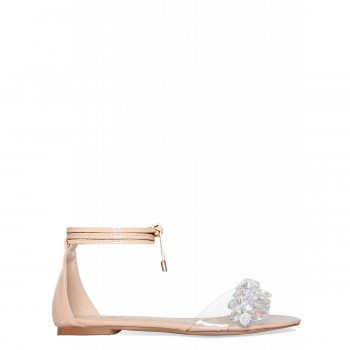Carrie Nude Lace Up Gem Clear Sandals